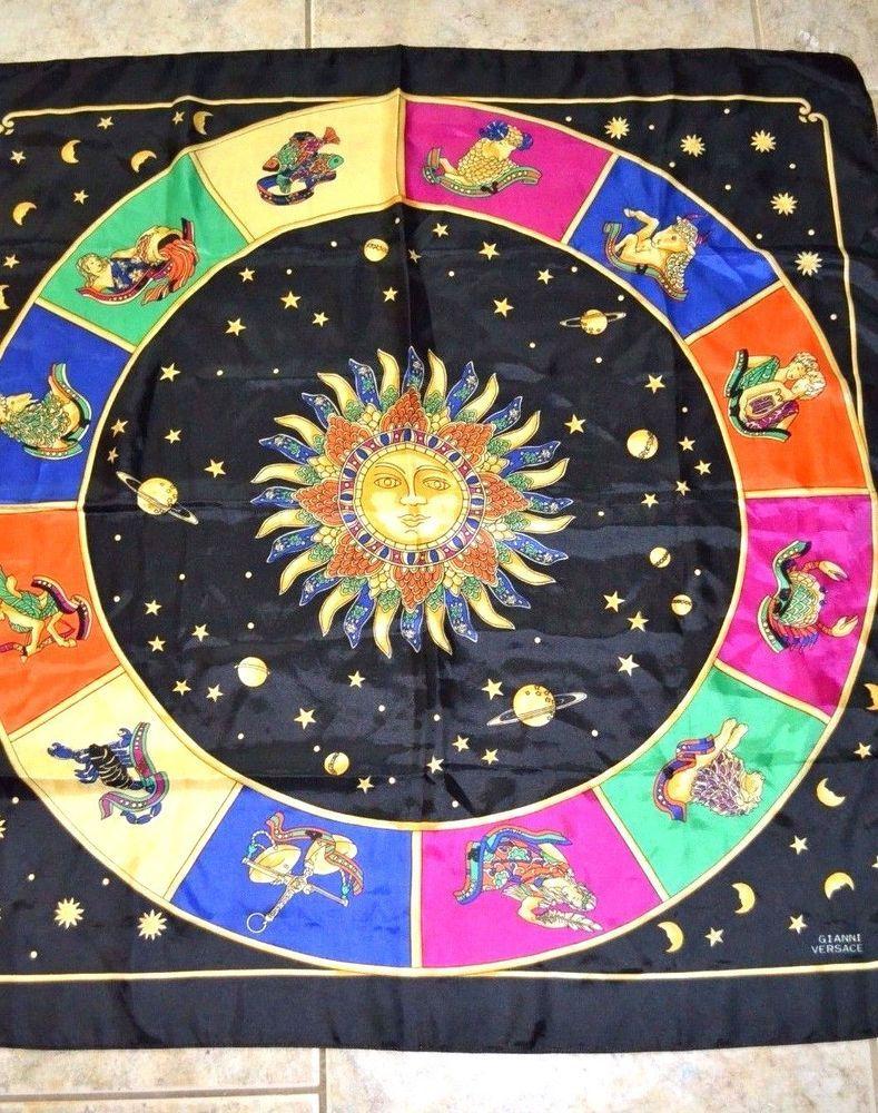 Vintage Gianni Versace Silk Scarf Wrap Zodiac GORGEOUS Sun Horoscope NICE! dbc1db03a5