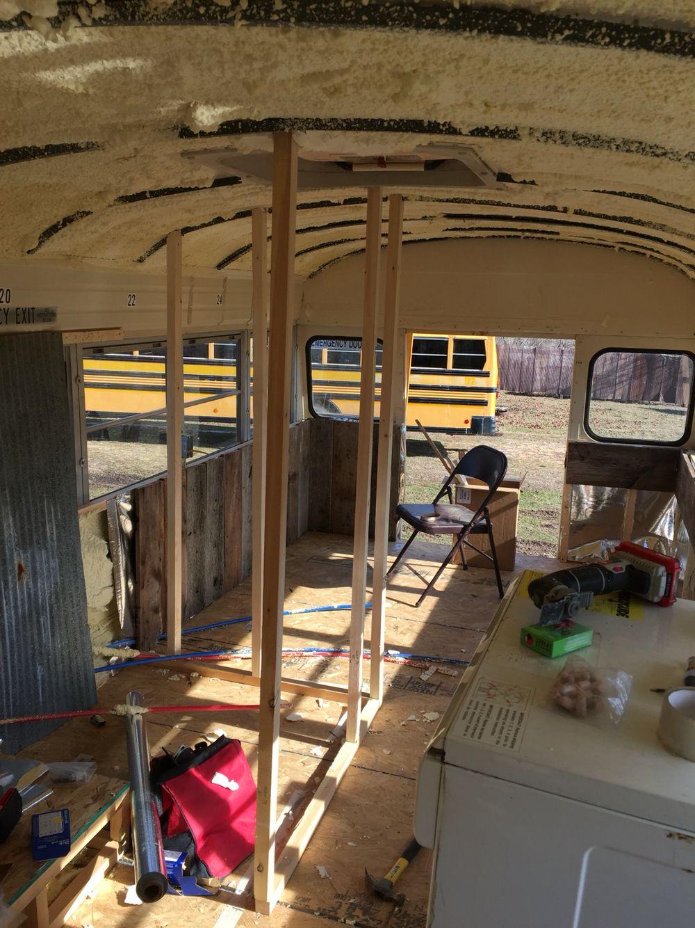 Framing the bathroom shower. -School bus tiny house conversation ...