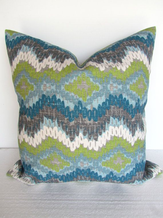 Blue Pillow 20x20 Decorative Throw Pillows Teal Lime Green Navy Covers Dark Home And Living Geometric