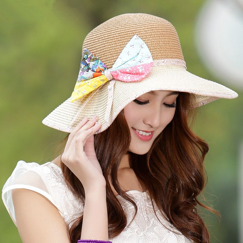 Girls sun hat colorful bow decoration for summer wear beach hat ... 8fe3653c72e