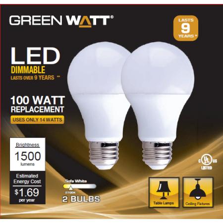 Led Bulb A19 Dimmable 100w Equivalent Soft White Greenwatt Electrical G L6 A19d24u 14w 2700k 2 Pack Walmart Com Led Bulb Bulb Led