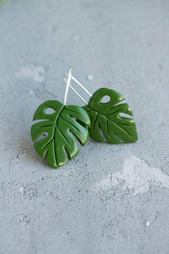 c6dbc24069e7 Big Green Monstera leaf earrings Tropical Jungle Monstera