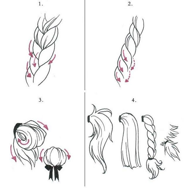 how to draw hair with pencil step by step