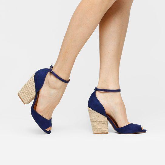 884b55f86f Sandália Santa Lolla Salto Grosso Corda - Azul | Sapatos ...