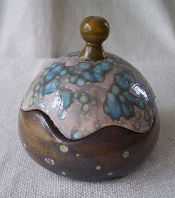 Funky Dotted Retro Look Ceramic Box Trinket Jewelry Stash Ceramic Boxes Ceramics Pottery