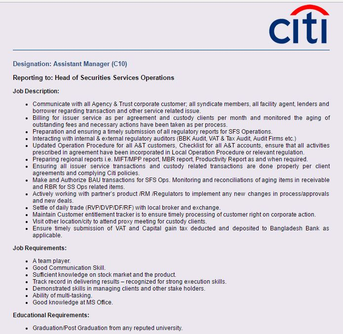 Career u2013 Citibank NA u2013 Assistant Manager (C10) Citibank NA has - executive assistant skills
