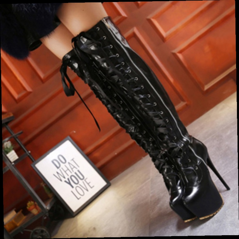 43.39$  Buy now - http://alii4s.worldwells.pw/go.php?t=32748769554 - Faux Leather Thigh High Boots Over the Knee Boots Sexy Overknee High Heels Woman Shoes Lace Up Zipper Women Boots Black