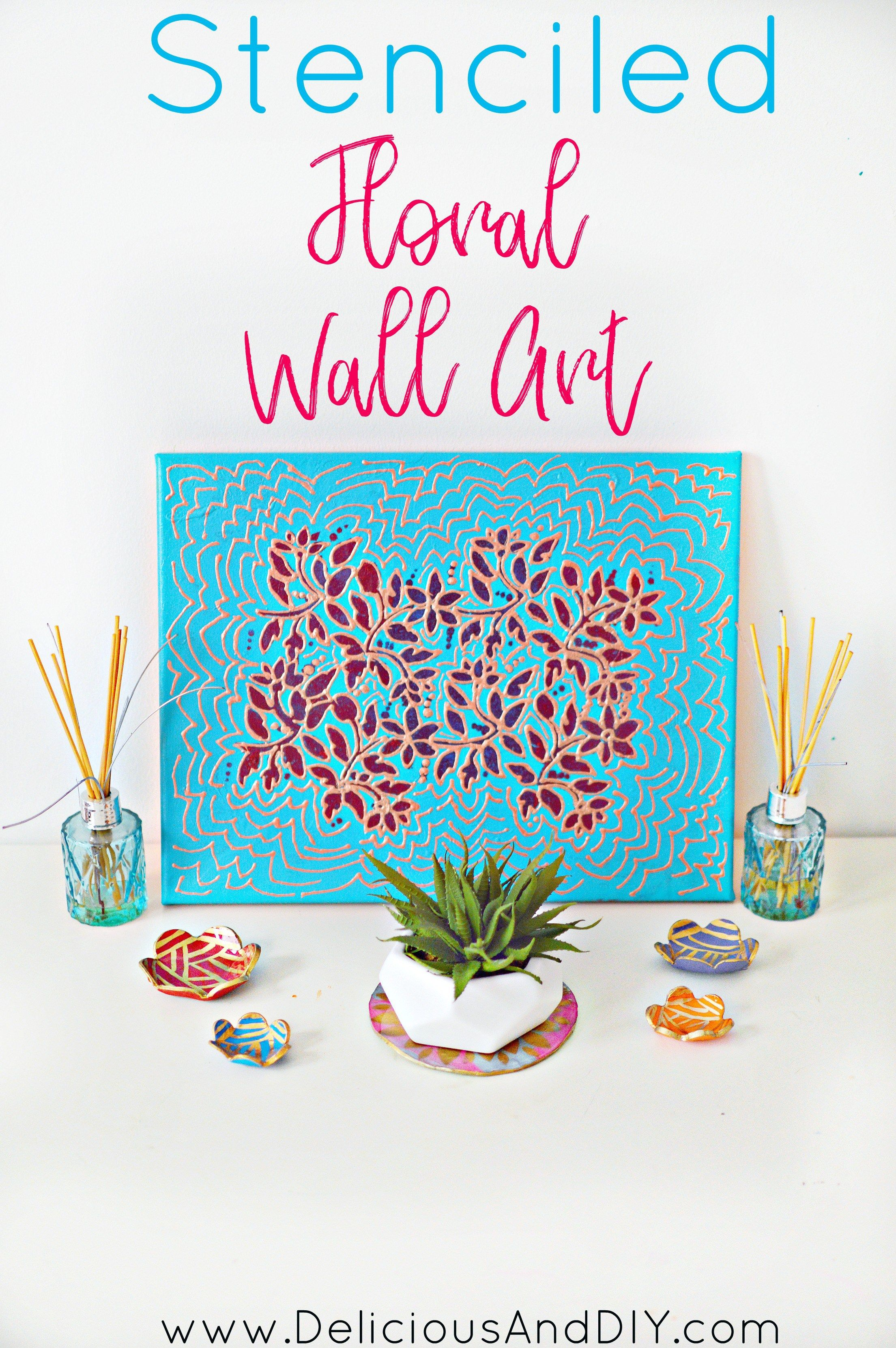 Stenciled Floral Wall Art Create With Paint And Brush Stencil
