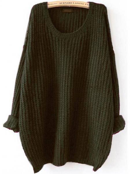 Sweater Fall Winter Fashion Green Loose Knit Sweater | Fall winter ...