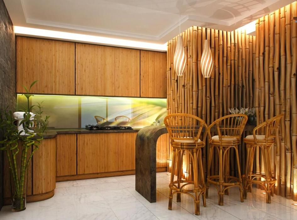 inspiration bamboo interior design ideas atrractive bamboo wall decoration ideas in elegant kitchen interior with