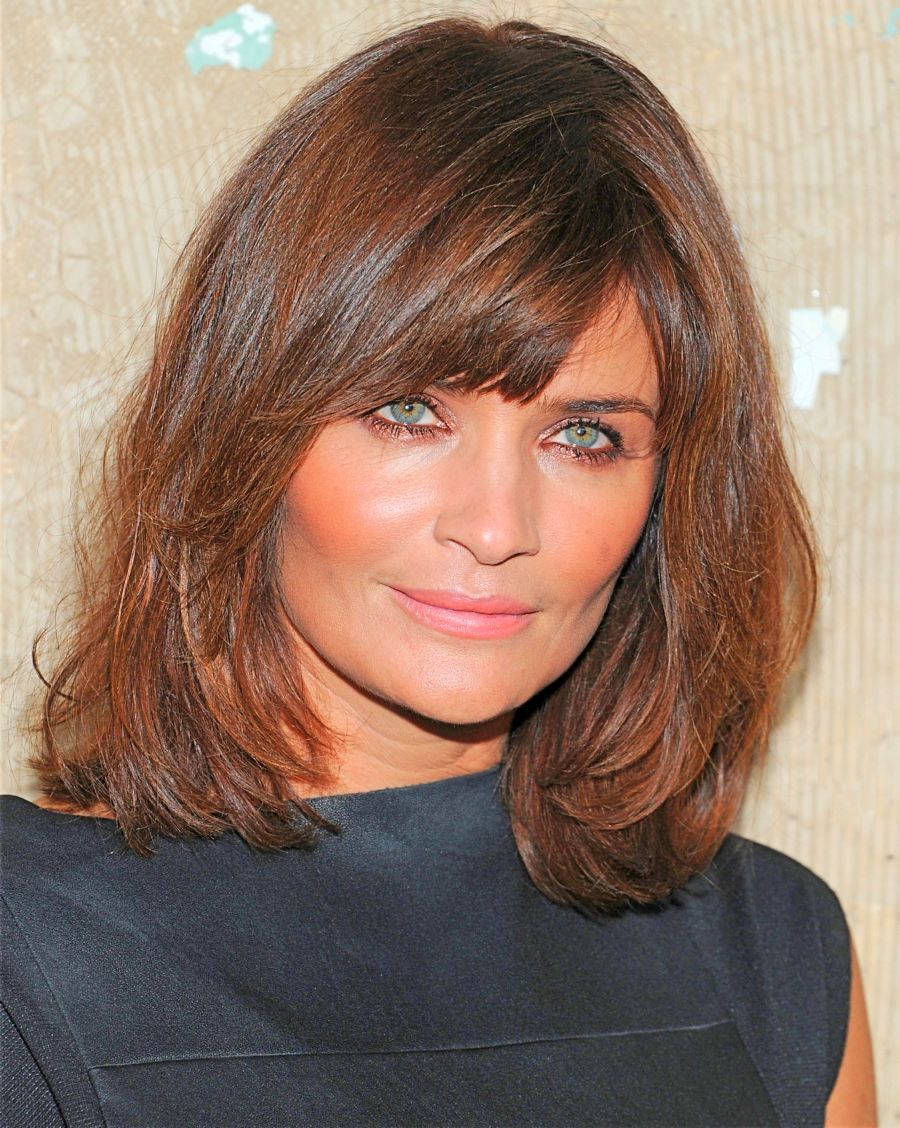 Bangs for wavy hair and oval face archives women medium haircut - Medium Length Layered Hairstyles With Bangs For Women Over 50 Simple Hairdos Nice Hairstyle Brown Hair Colour