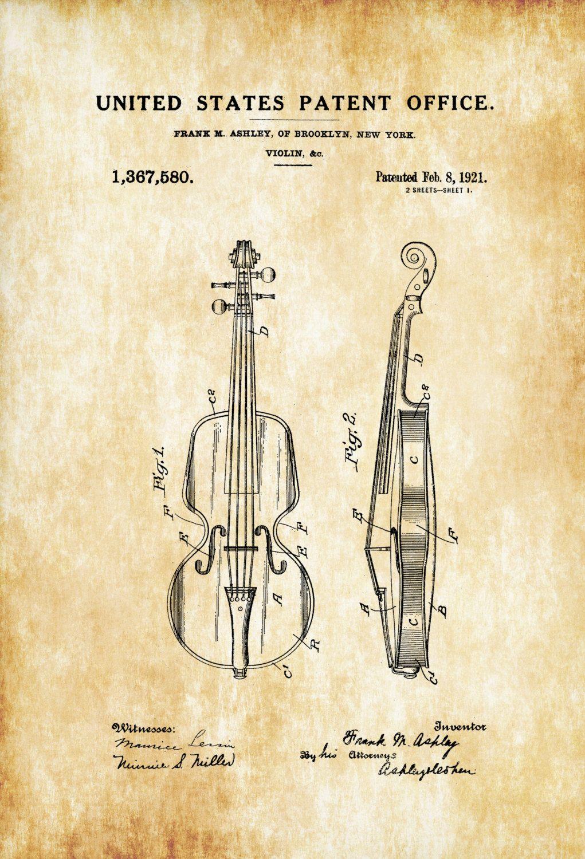 Violin Patent – Patent Print, Wall Decor, Music Poster, Music Art ...