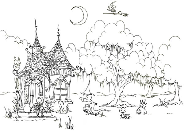 House Build Before Creepy Forest Coloring Page Coloring Sky Halloween Coloring Pages Halloween Coloring Forest Coloring Pages