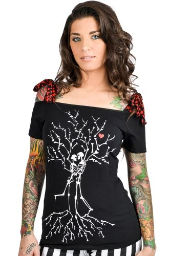 Too Fast Skeleton Tree Lovers Annabel Bow Women's Top