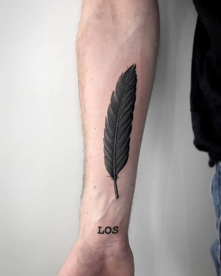 cf32194ba992d 50 Beautiful Feather Tattoo Designs   Tattoos for Men   Feather ...