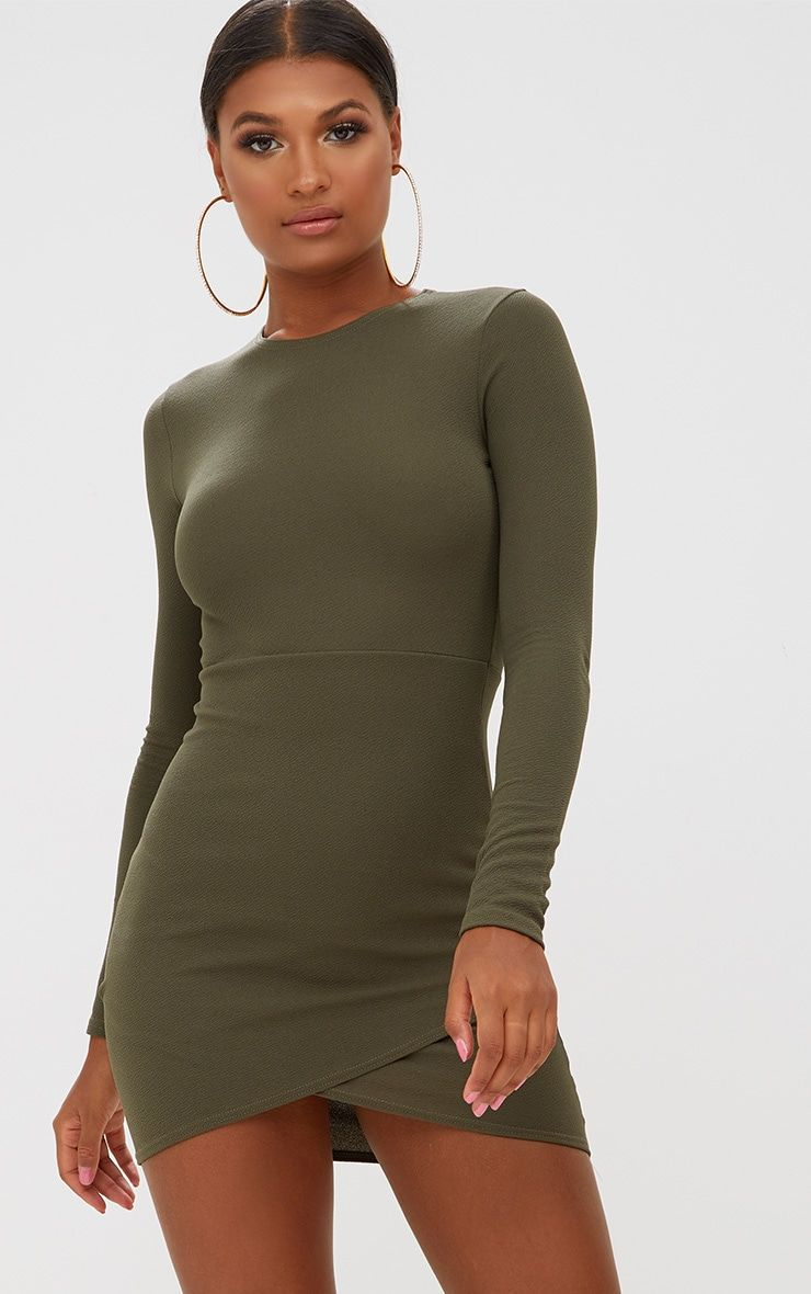 Khaki long sleeve wrap skirt bodycon dresswe are dreaming over this