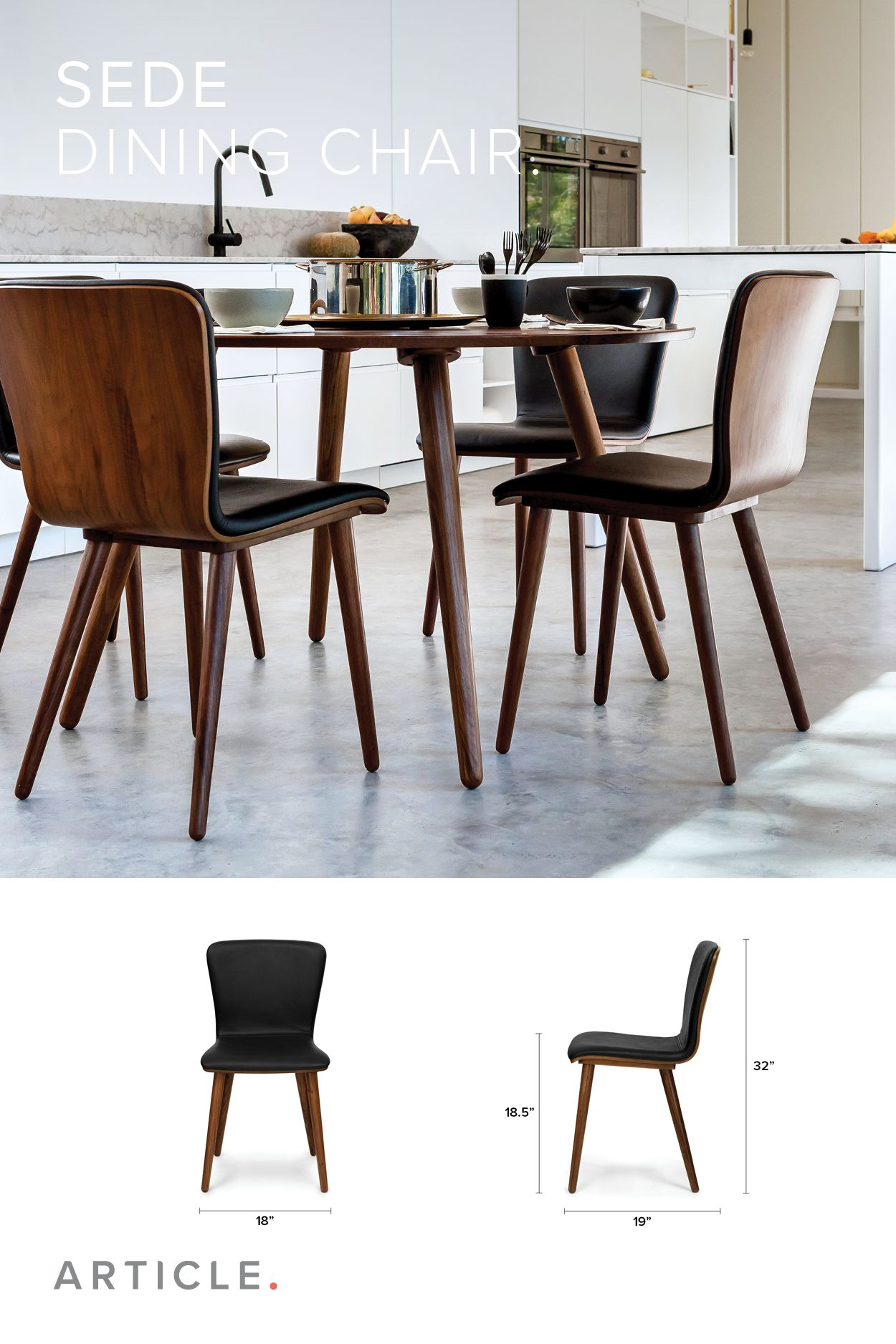 2 X Black Leather Dining Chair In Walnut Wood
