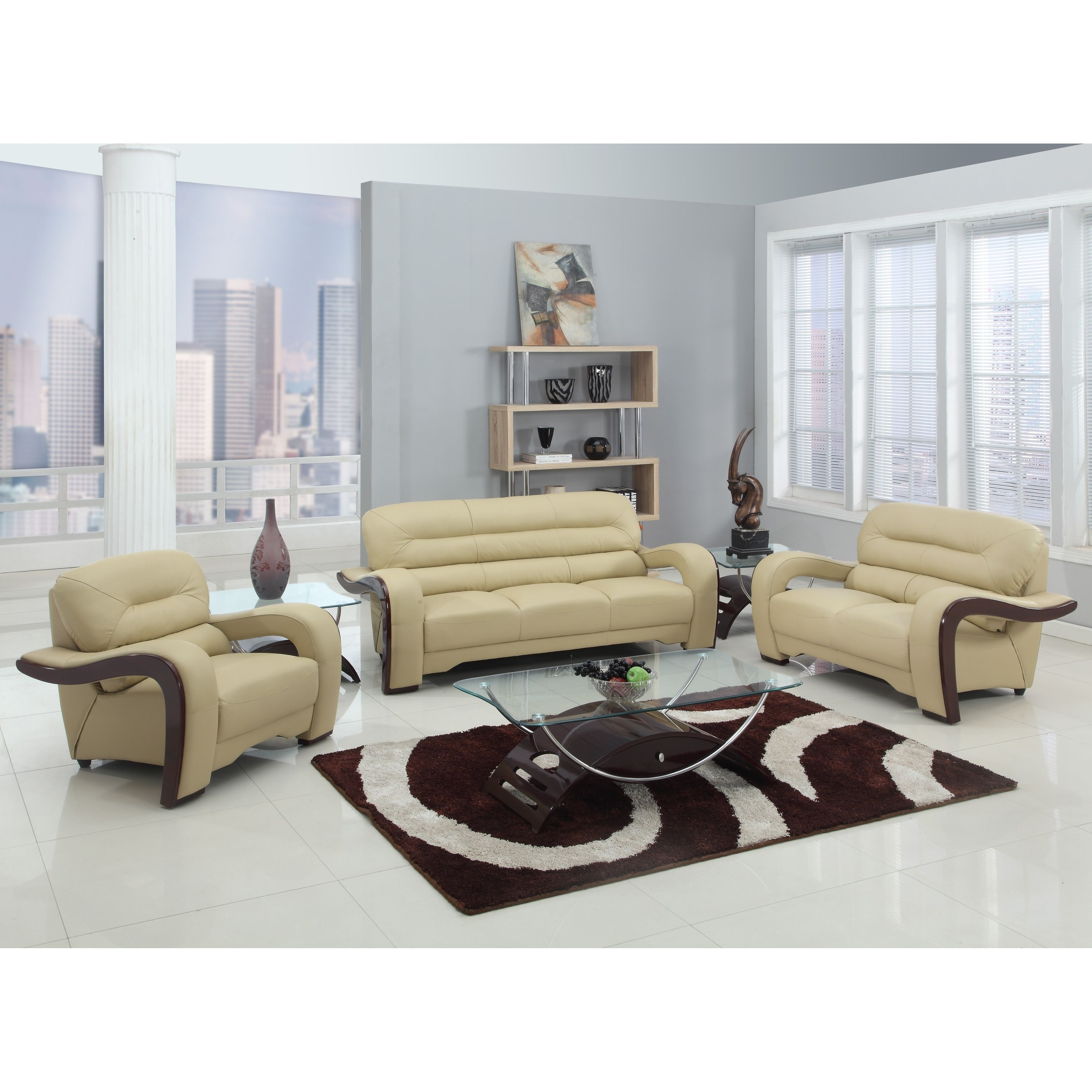 GU Industries Leather/Match Upholstered 3-Piece Living Room Sofa Set ...
