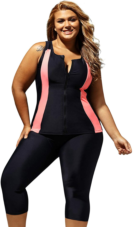 ENLACHIC Women Plus Size Surf Swimwear Rash Guard Swim Capris Tankini Swimsuit at Amazon Women's Clothing store 1