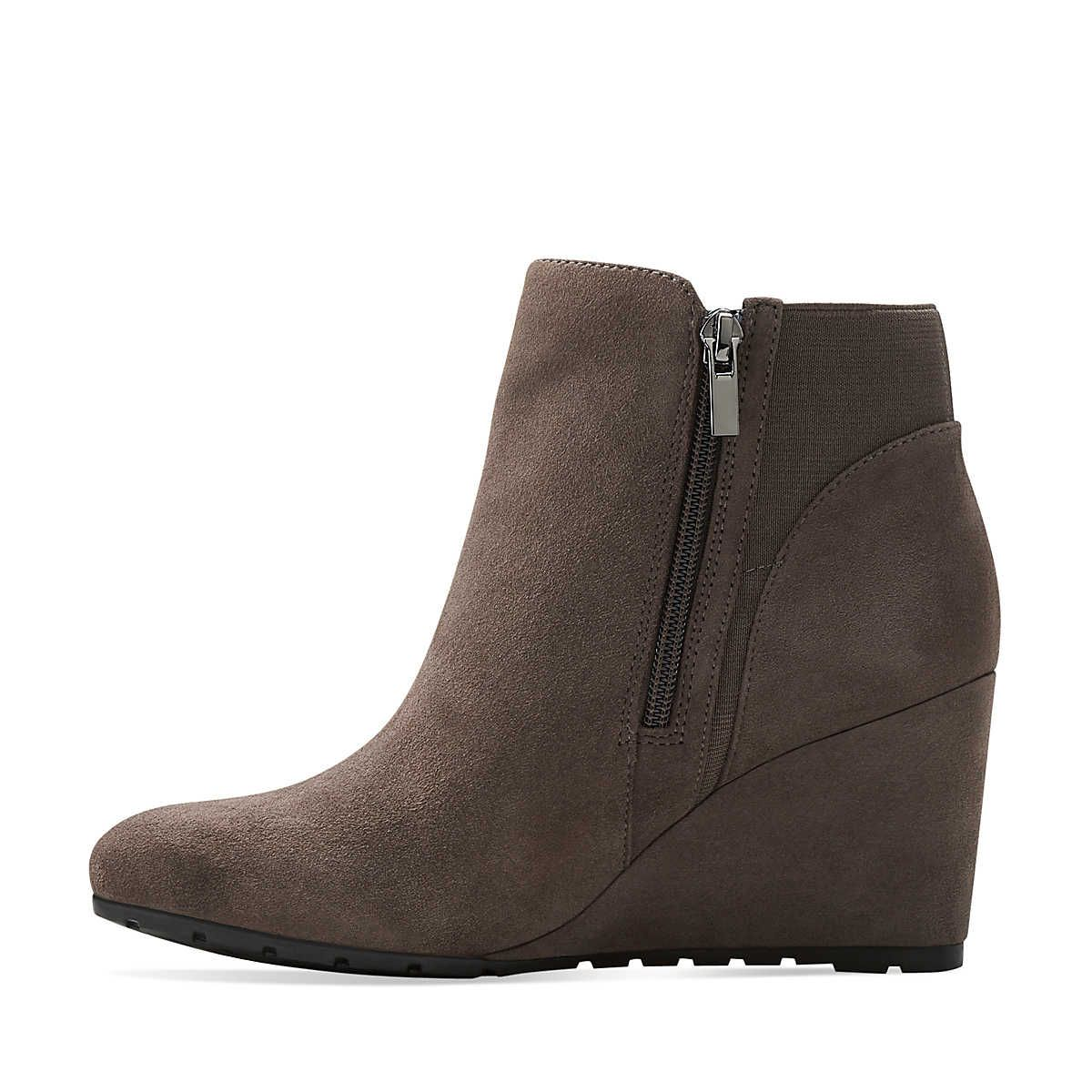 Rosepoint Bell in Grey Suede - Womens Boots from Clarks