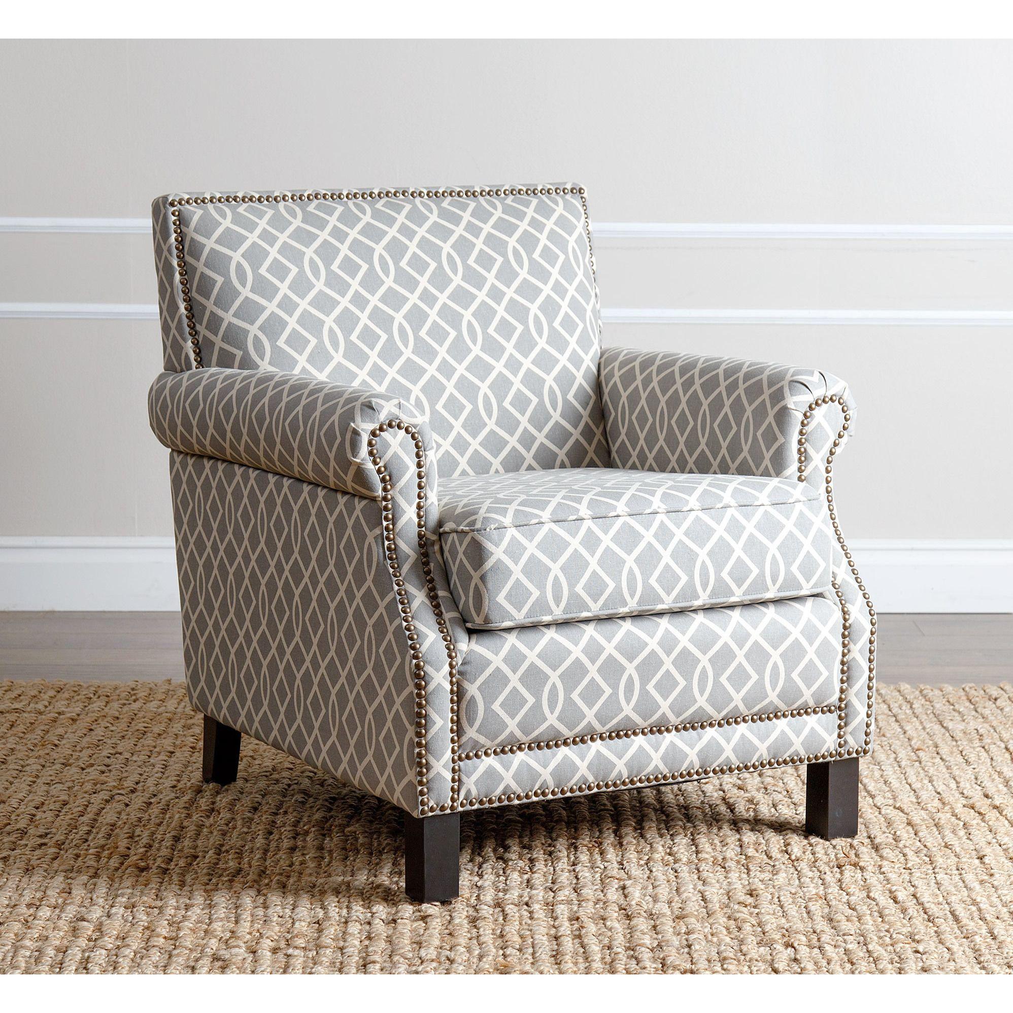 Abbyson Living Chloe Grey Pattern Club Chair Grey Linen