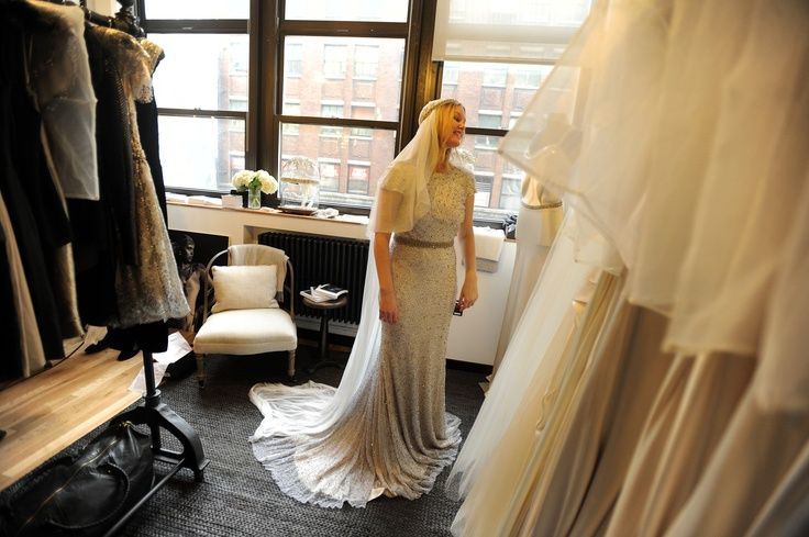 """If you go too flapper, it can get costume-y,"" said Nicole Sewall, managing director of BHLDN. Focus instead on Art Deco embellishments or dress cuts. (Photo: Jennifer S. Altman for The New York Times)"