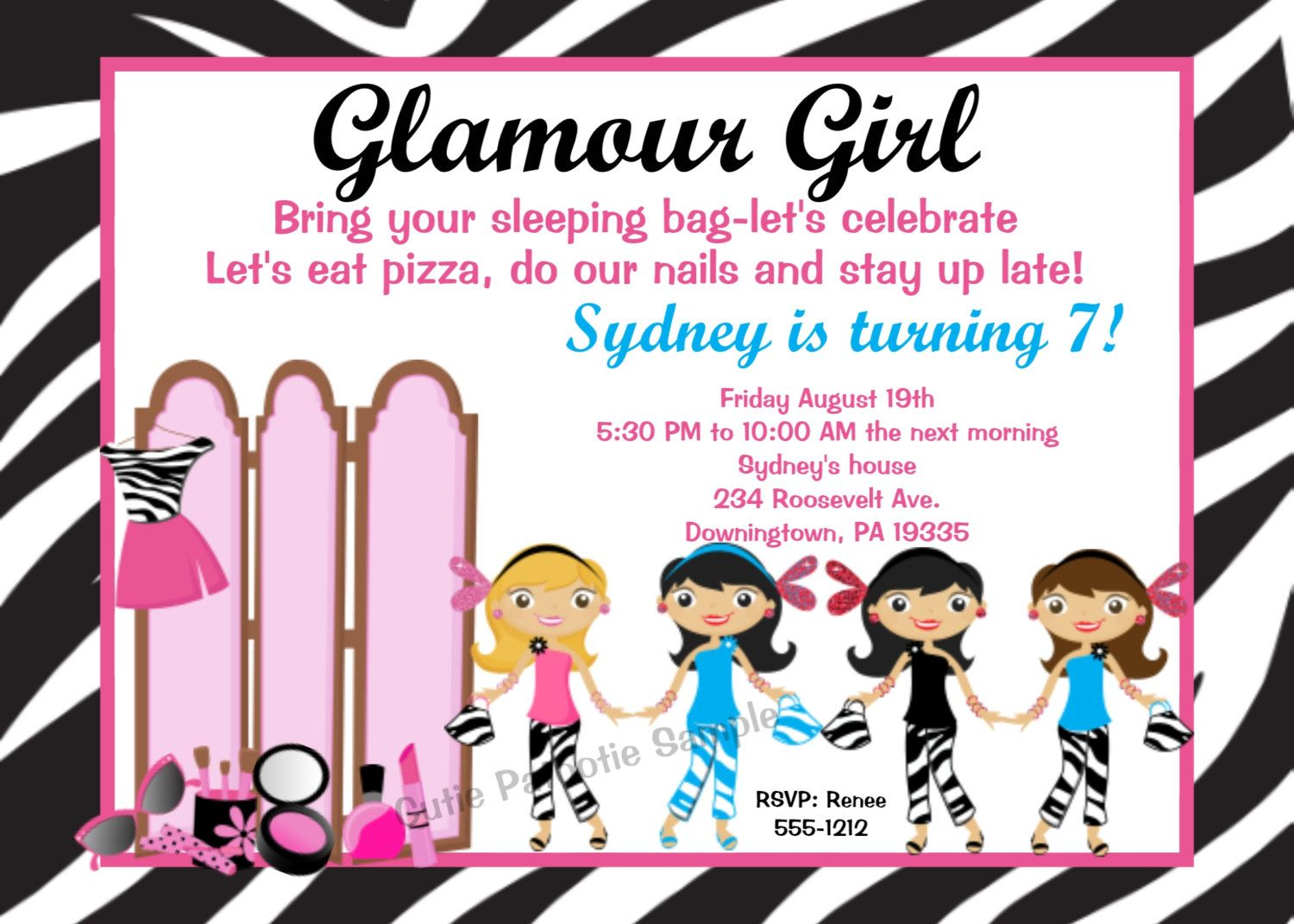 glam party for girls glamour girl birthday invitation glamour girl invitations printable or - Girl Birthday Party Invitations
