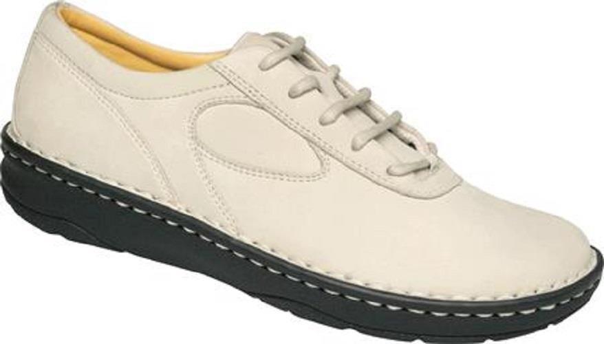 Womens Drew Shoes AUDREY Oxfords Beige Nubuck Leather 5.5 W Wide Sport White #Drew #Oxfords