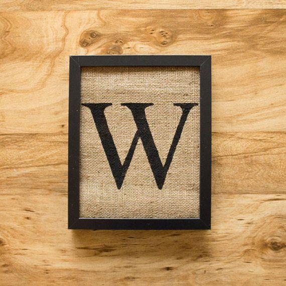 Letter W - monogram, burlap wall decor, alphabet art | Burlap wall ...