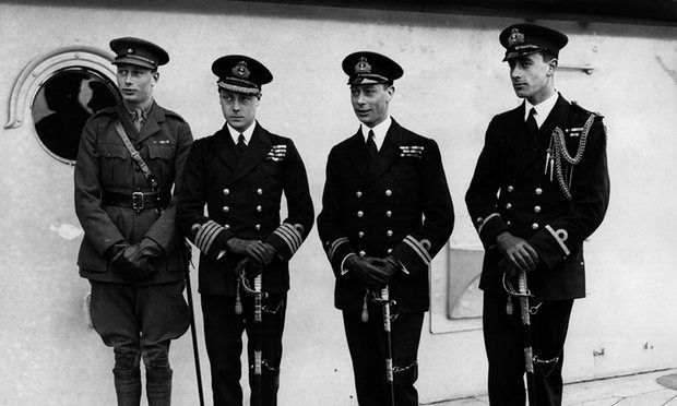 Princes in uniform, 1920: (from left) brothers Prince Henry, Duke of Gloucester, Prince Edward, Prince of Wales, Prince George Duke of York and their cousin Louis Mountbatten, who was formerly himself a German prince