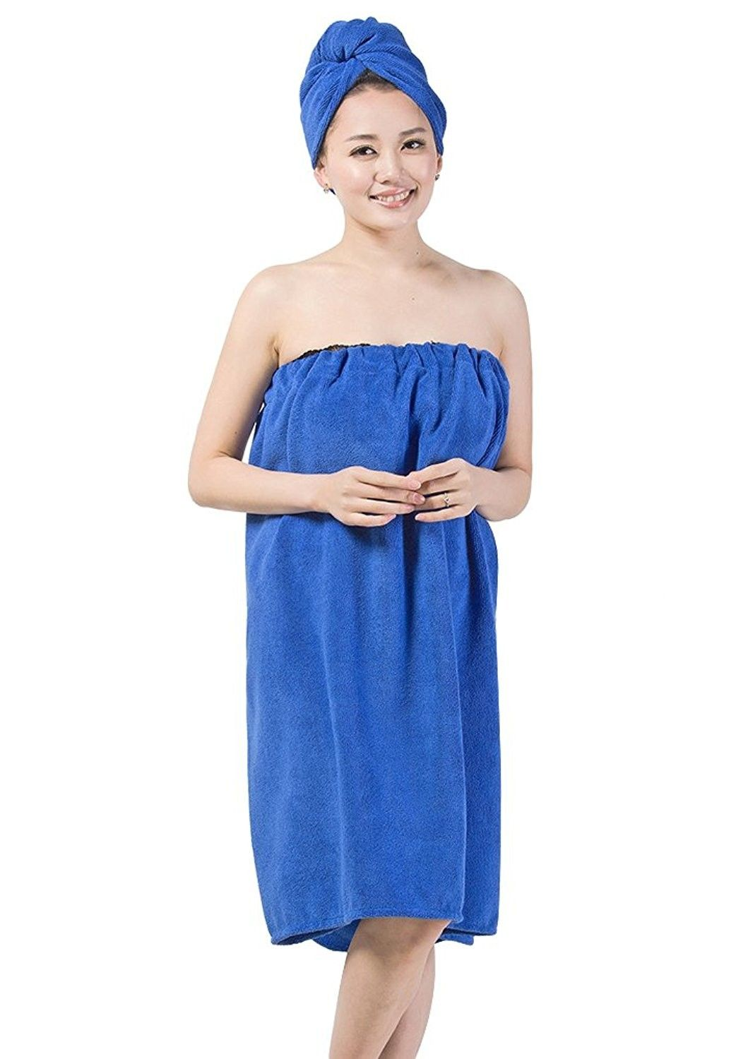 ab9ee558c6 Women s Spa Wrap Set Cozy Terry Cloth Bath Towel Cover-up Bathrobe with  Drying Hair Hat - Royal Blue - CI17Y0N7963