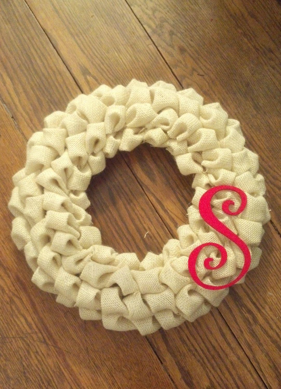 Monogramed Bubble Burlap Wreath. Etsy.com