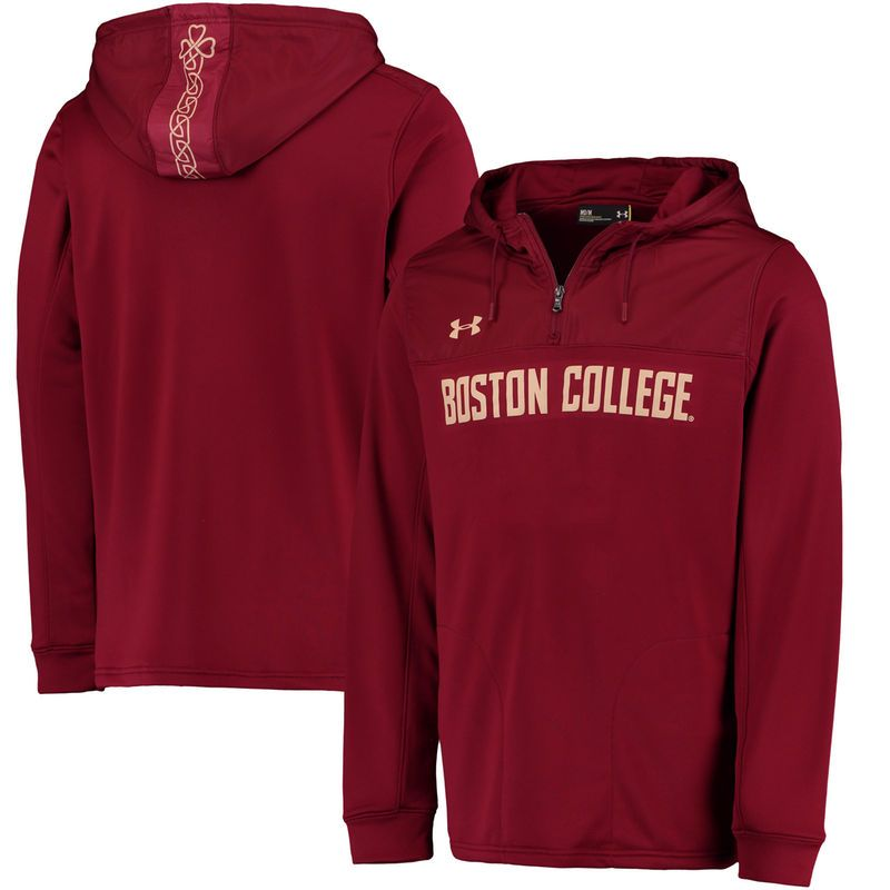 Boston College Eagles Under Armour Special Games Fleece Hooded Quarter-Zip Pullover Jacket - Maroon