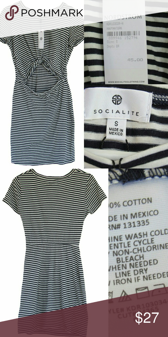 c1513ff081675 Socialite (Nordstrom) tie cut out dress small New with tags Socialite  (Nordstrom) Knot Front Cutout Dress in Navy and White Stripes, Size Small,  ...