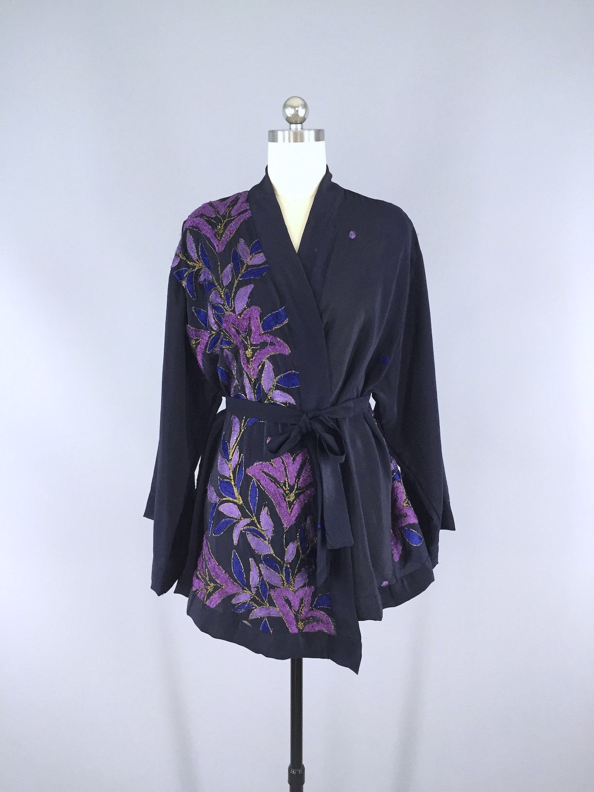 Silk Kimono Cardigan / Vintage Indian Sari / Navy Blue & Purple ...