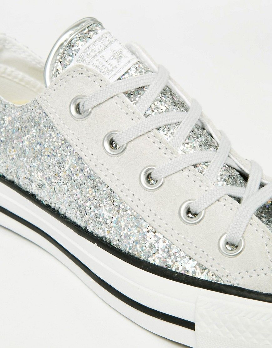 e00355960ee5 Image 4 of Converse All Star Chuck Taylor Sequin Ox Silver Plimsoll Trainers