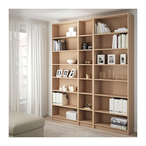 BILLY Bookcase w height extension units, white stained oak ...