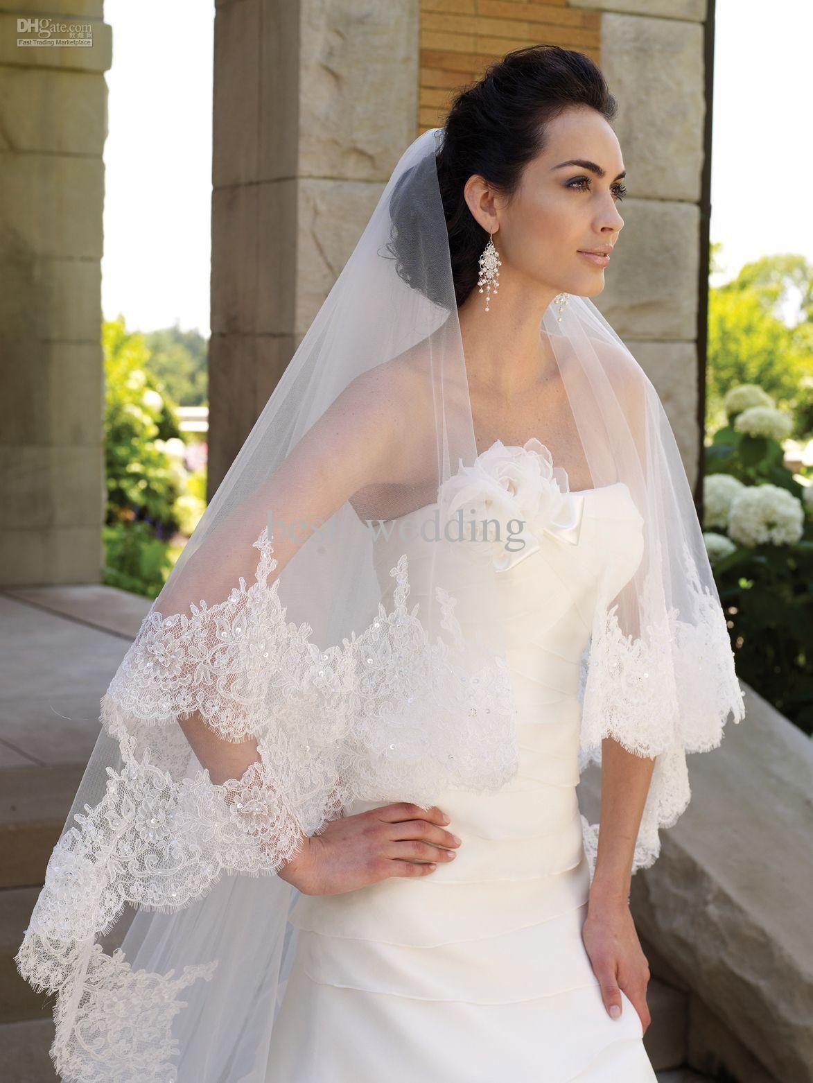 Luxury white lace applique wedding veils for wedding dresses bridal