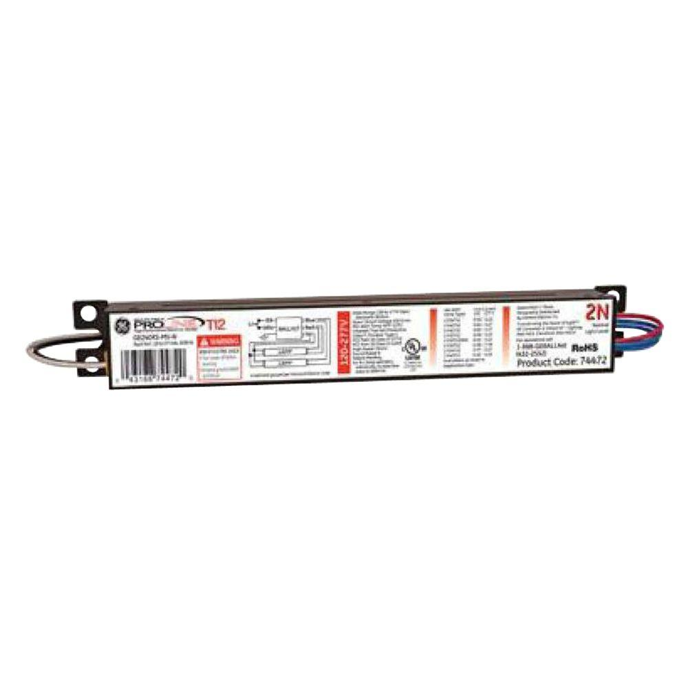 GE 120 to 277-Volt Electronic Ballast for 4 ft. 2-Lamp T12 ...