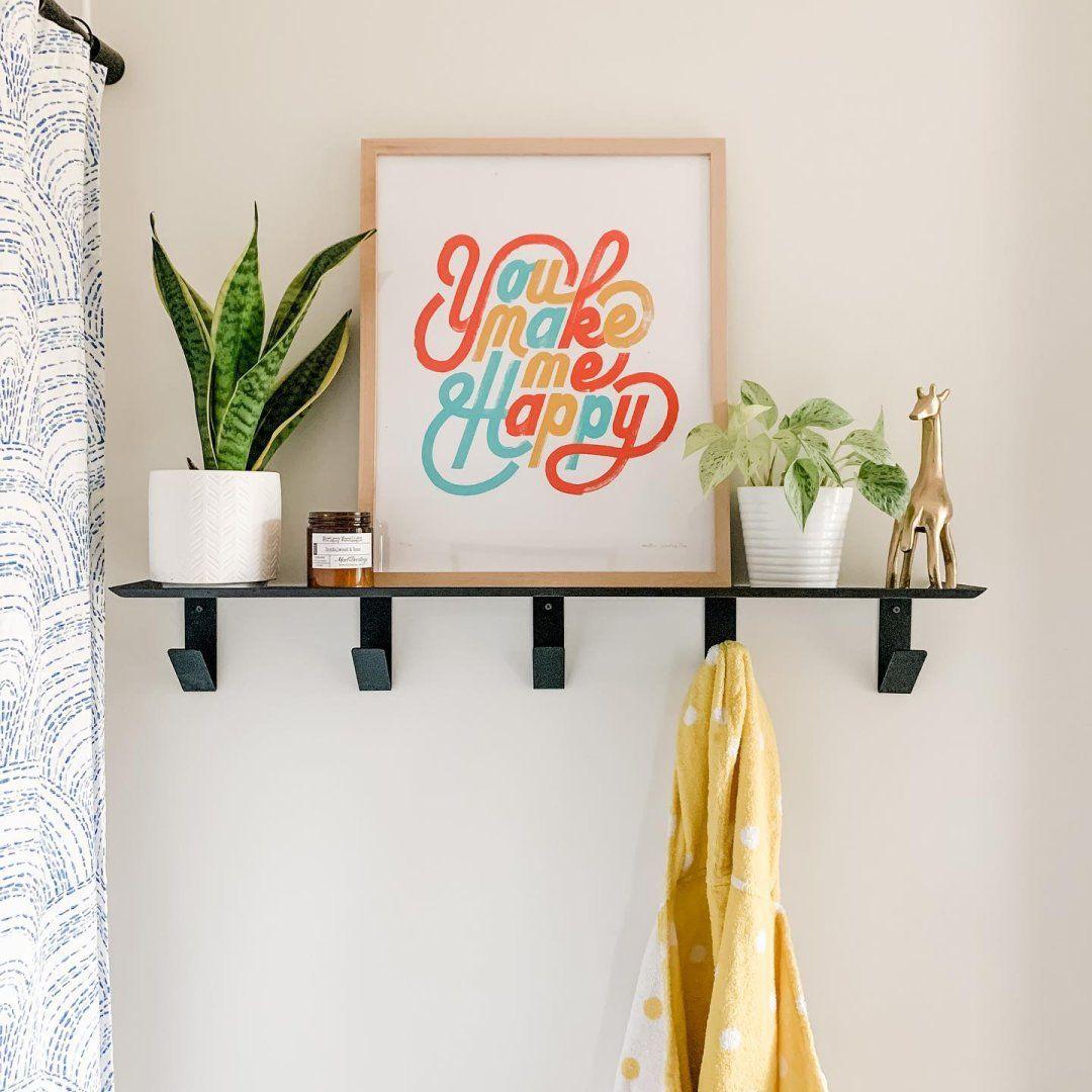 Bend Wall Shelf With Hooks Modern Wall Shelves Ledges Modern Home Decor Room Board In 2021 Wall Shelf With Hooks Modern Wall Shelf Wall Shelf Decor