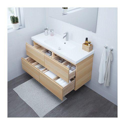GODMORGON   ODENSVIK Sink cabinet with 4 drawers, high gloss gray - ikea meuble salle de bain godmorgon