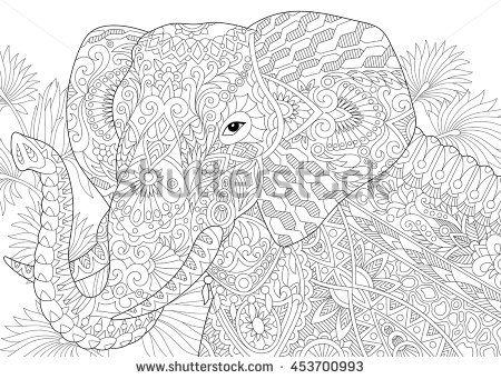stylized elephant among leaves of palm tree freehand sketch for