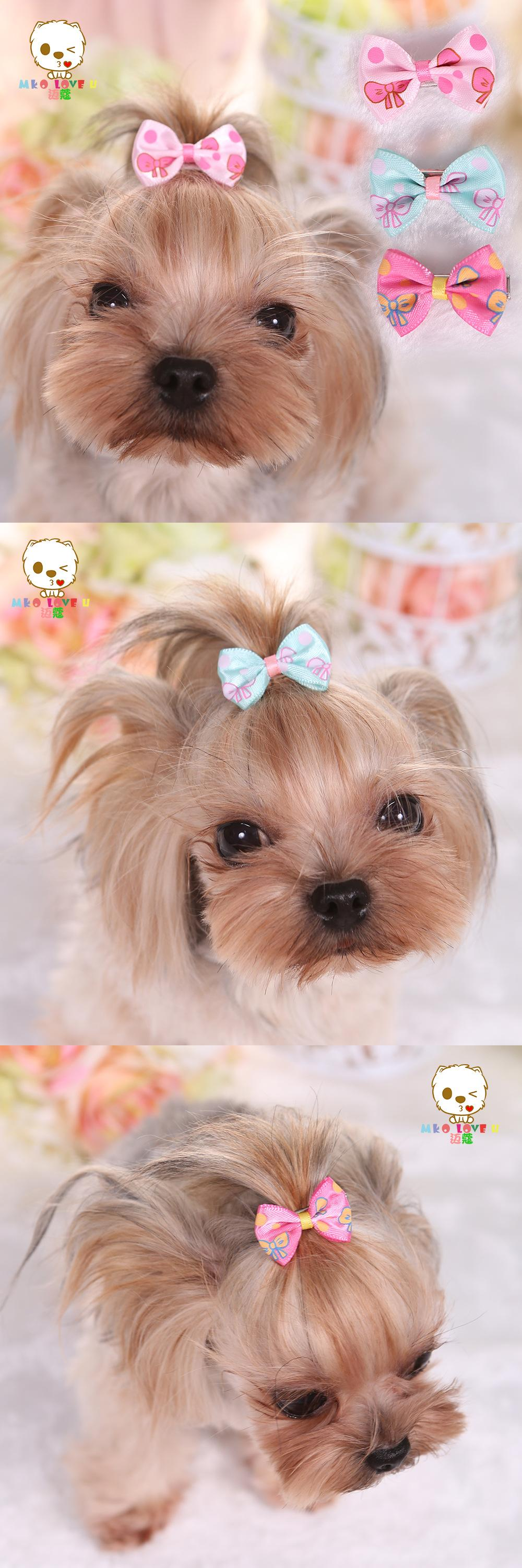Visit To Buy Tactic Mai Kou Yorkshire Vip Pet Dog Bowknot Barrette Hair Accessories Printing 3pcs Advertisement Pets Pet Dogs Dog Accessories