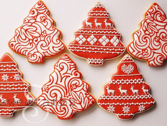 Red And White Christmas Cookies Set Of 6 Orange By Sweetambs 84 00