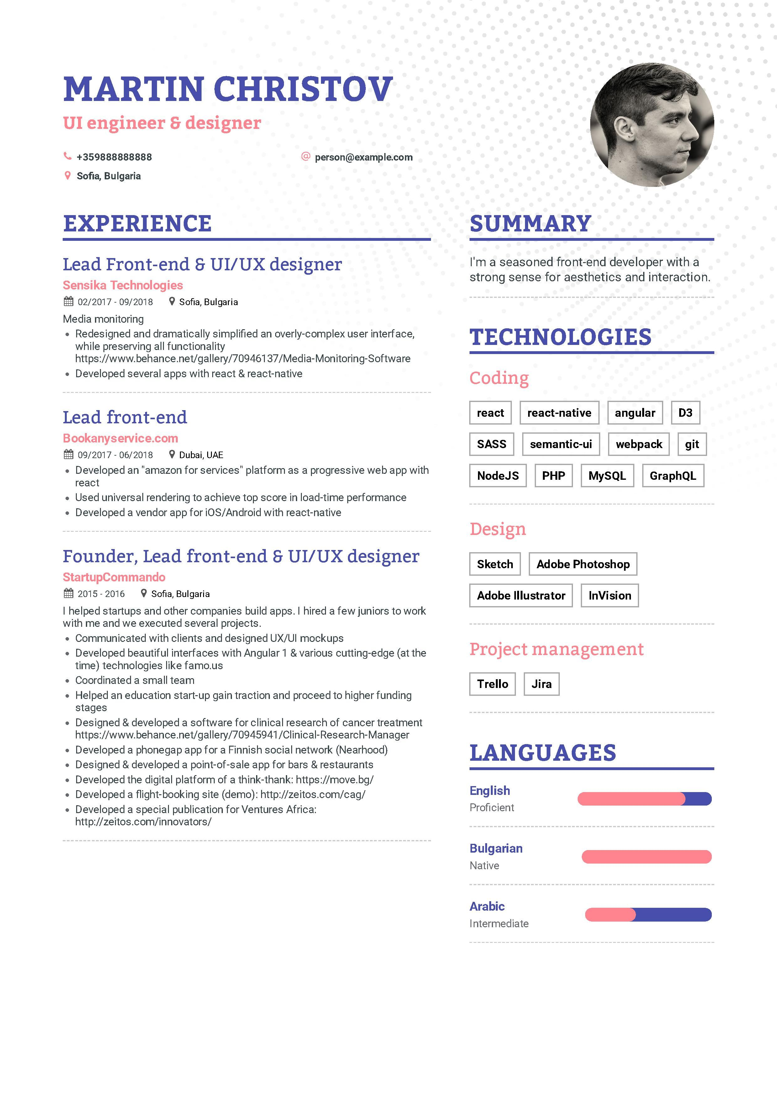 Front End Developer Resume Example And Guide For 2019 Infographic Resume Resume Examples Job Resume Examples