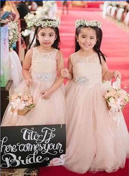 9dcde8ff214 2015 Cute Blush Pink Flower Girl Dresses For Weddings Long Tulle ...