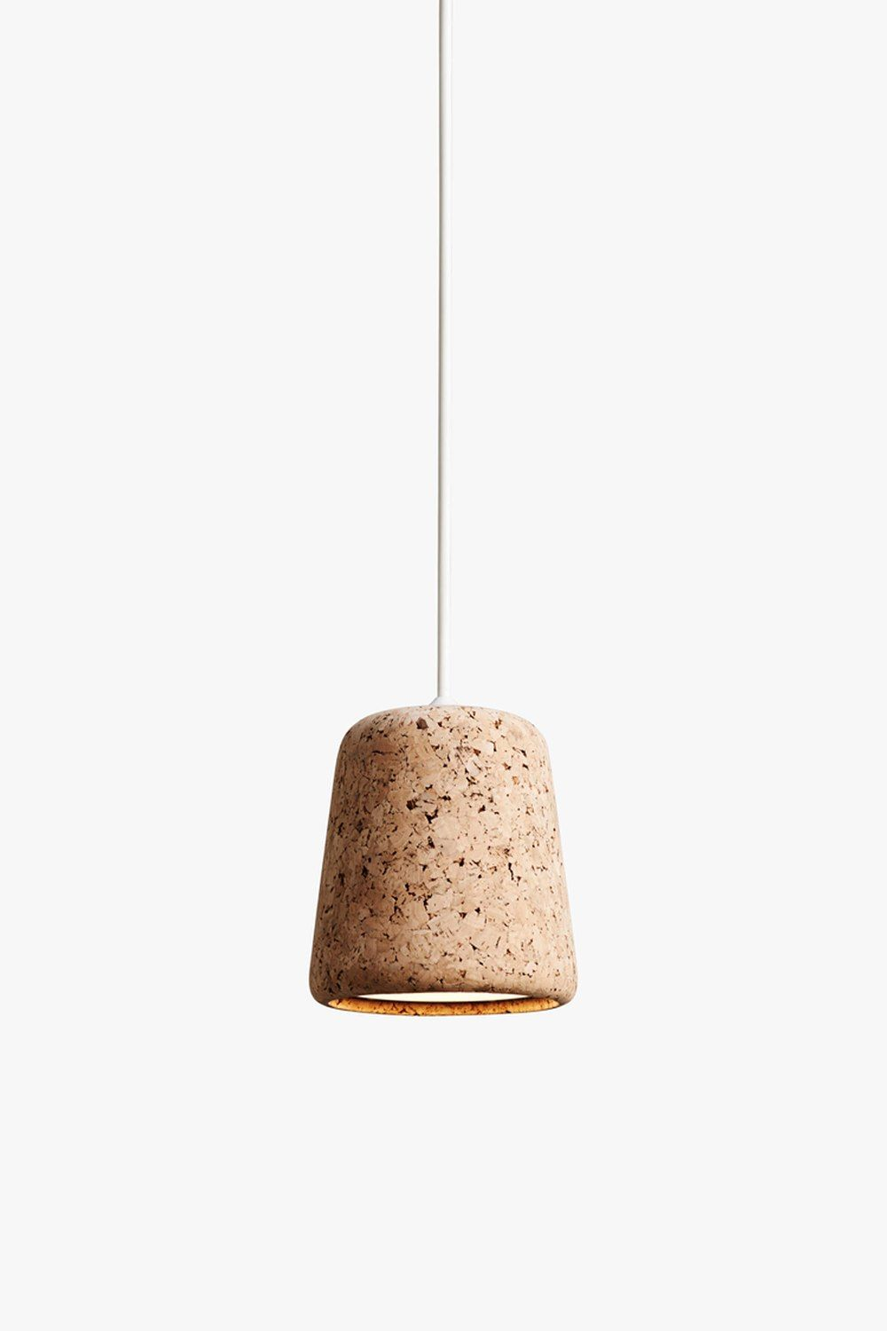 The Material Pendant lamp highlights the power of simplicity in form.   Through this simplicity, it can become a standout piece within a room, or   be used to complement those around it. From the warmth of oak and cork, to   the roughness of concrete and marble, the richness of terracotta, and the