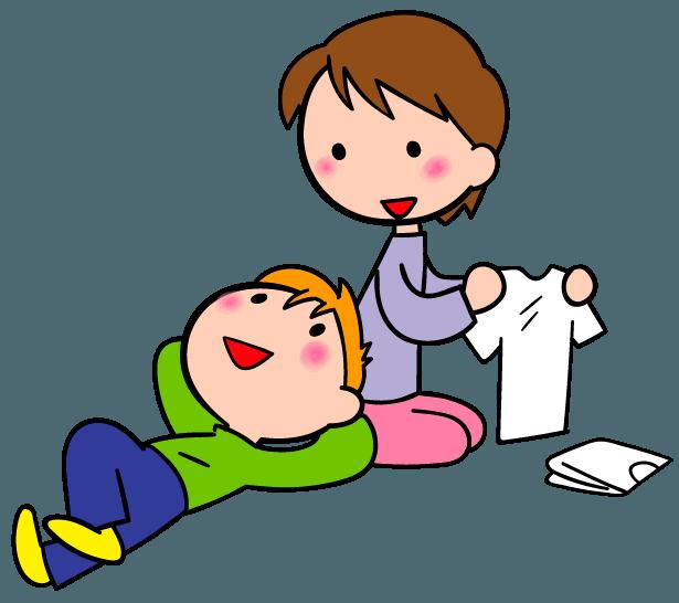 帰りを待つ テレビ ゲーム機 カップ麺 イラスト素材 イラスト 親子 子ども