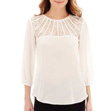 d2577491b65250 Someday I won't be afraid to wear white Alyx® 3/4-Sleeve Latticed Lace-Trim  Blouse found at @JCPenney