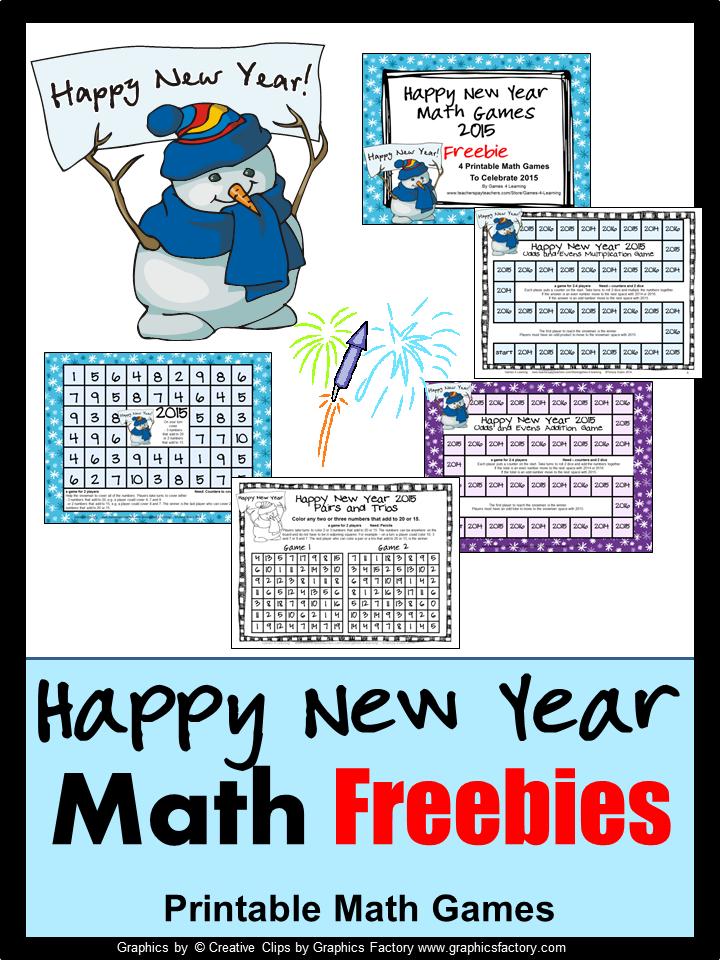 FREEBIES - Fun Games 4 Learning: Happy New Year Fun Math! Math to ...